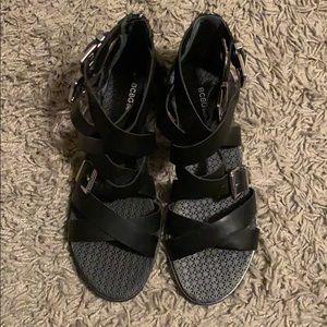 BCBG black strapped sandals. Never worn!